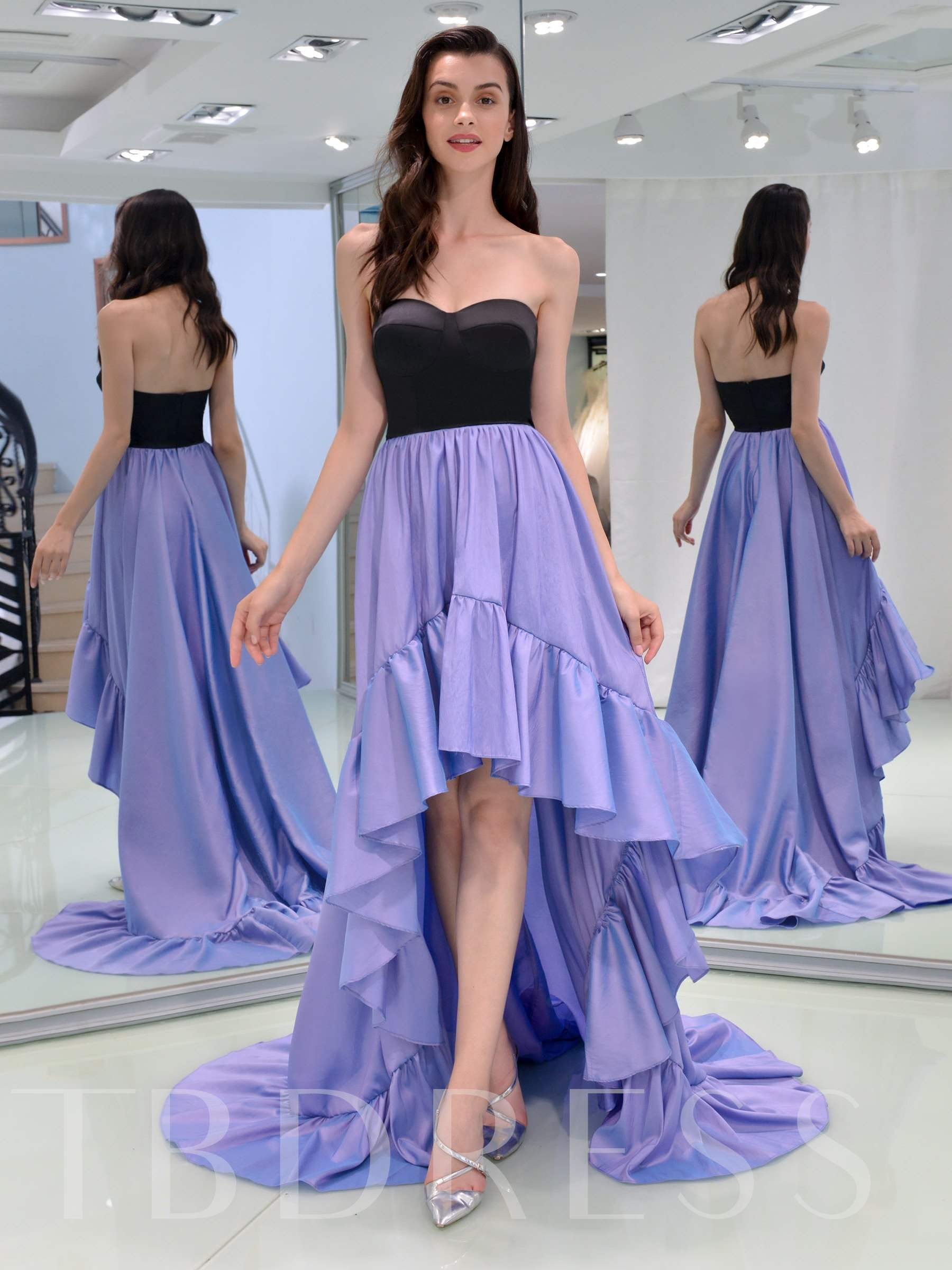 Buy A-Line Sweetheart High Low Prom Dress, Spring,Summer,Fall,Winter, 13336445 for $133.69 in TBDress store