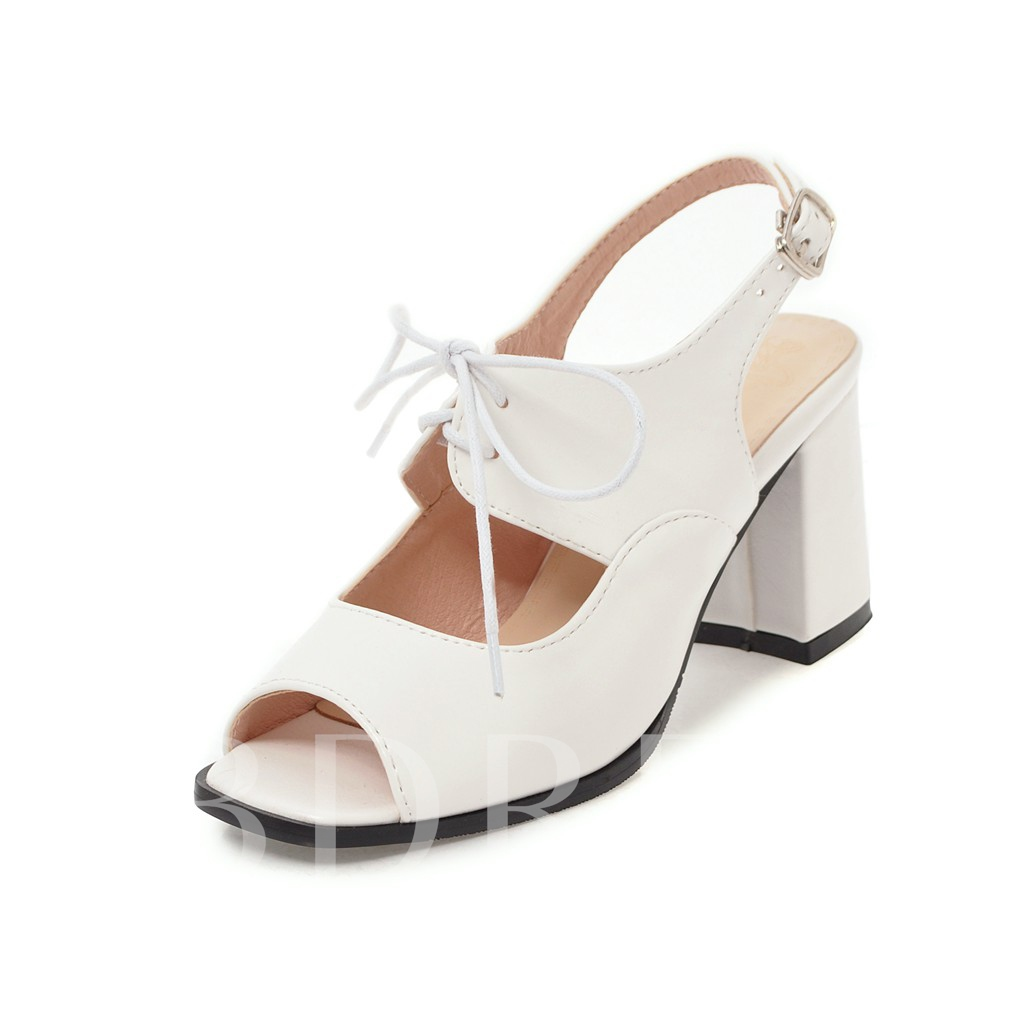 Buy Buckle Cross Strap Chunky Heel Peep Toe Ladylike Women's Sandals, Spring,Summer, 13336139 for $46.86 in TBDress store