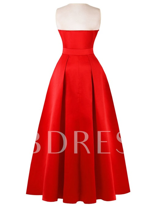 Scoop Neck Stain A Line Evening Dress