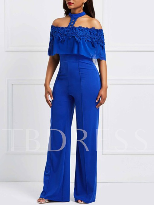Lace Slash Neck Halterneck Wide Legs Women's Jumpsuit