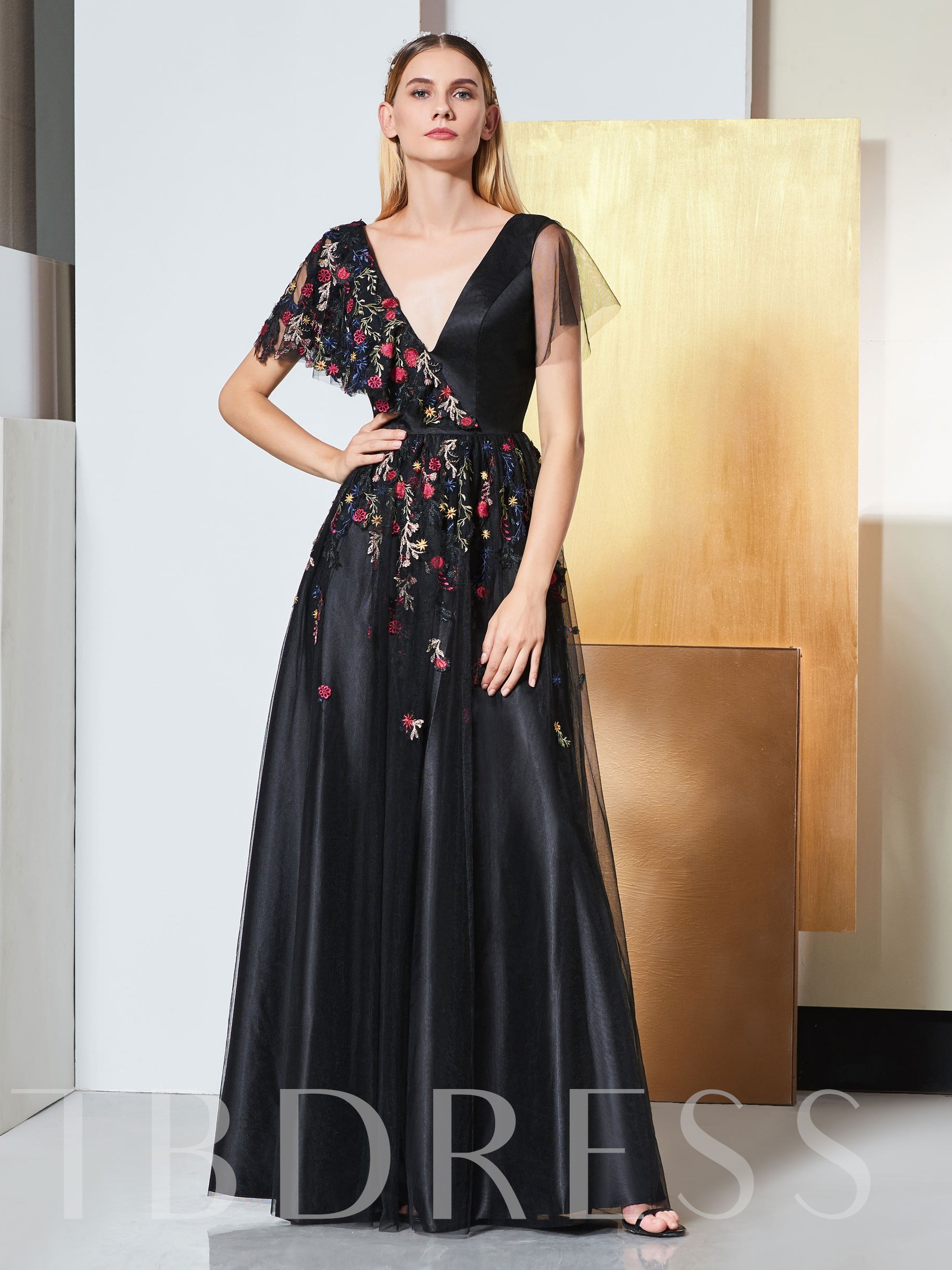 Buy A-Line Appliques V-Neck Short Sleeves Prom Dress, Spring,Summer,Fall,Winter, 13332664 for $157.49 in TBDress store