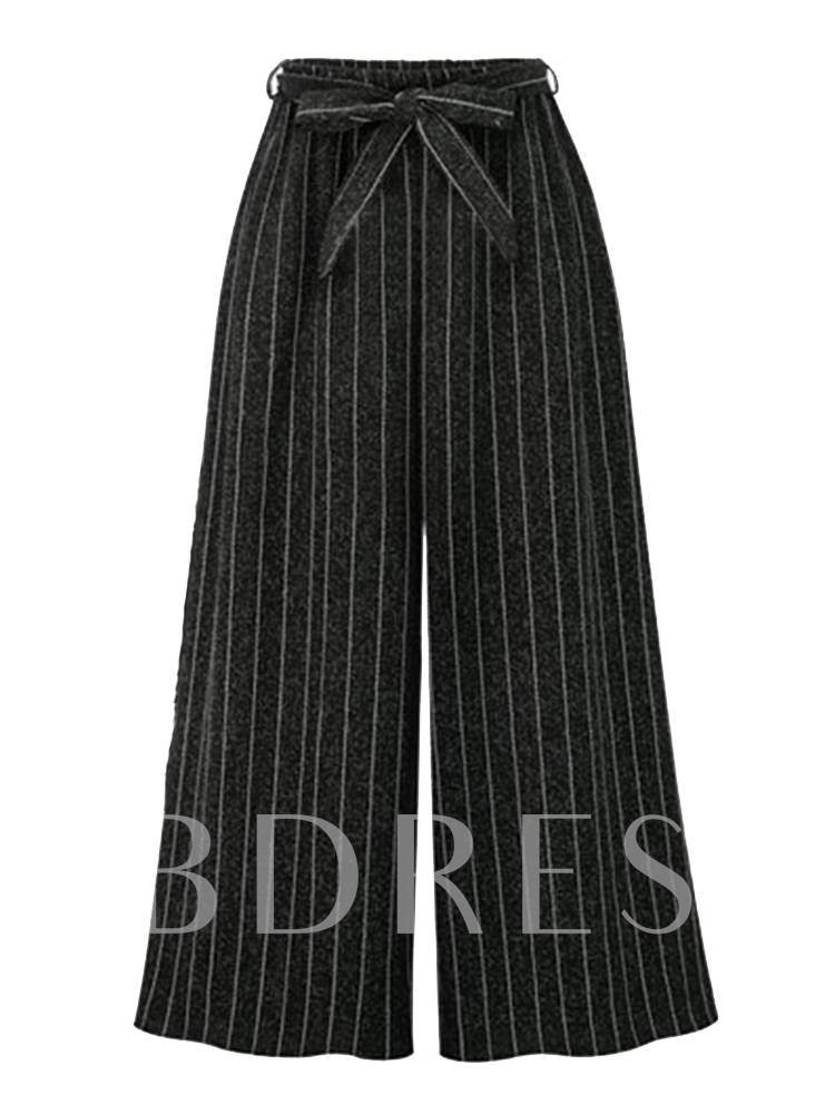 Plus Size Striped Lace-Up Women's Wide Legs Pants