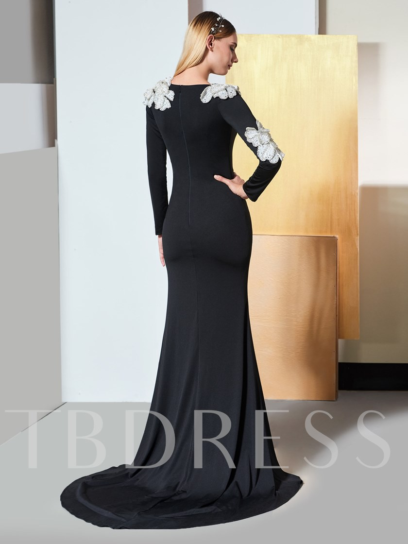 Mermaid Flowers Bateau Long Sleeves Evening Dress