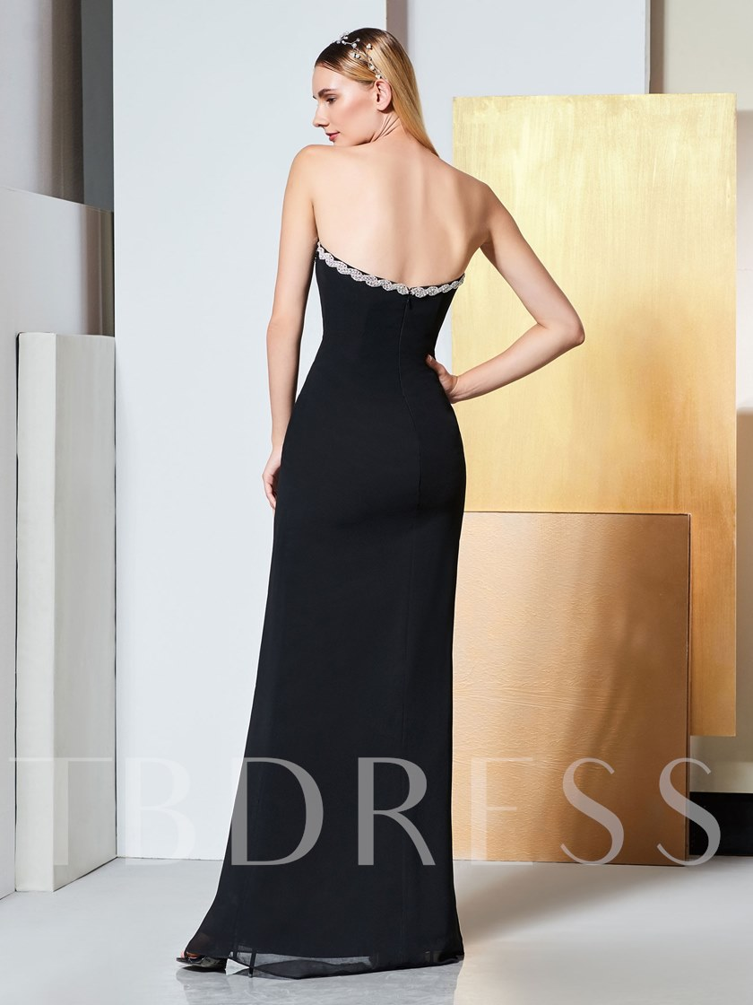 Beading Strapless Sheath Black Evening Dress 2019