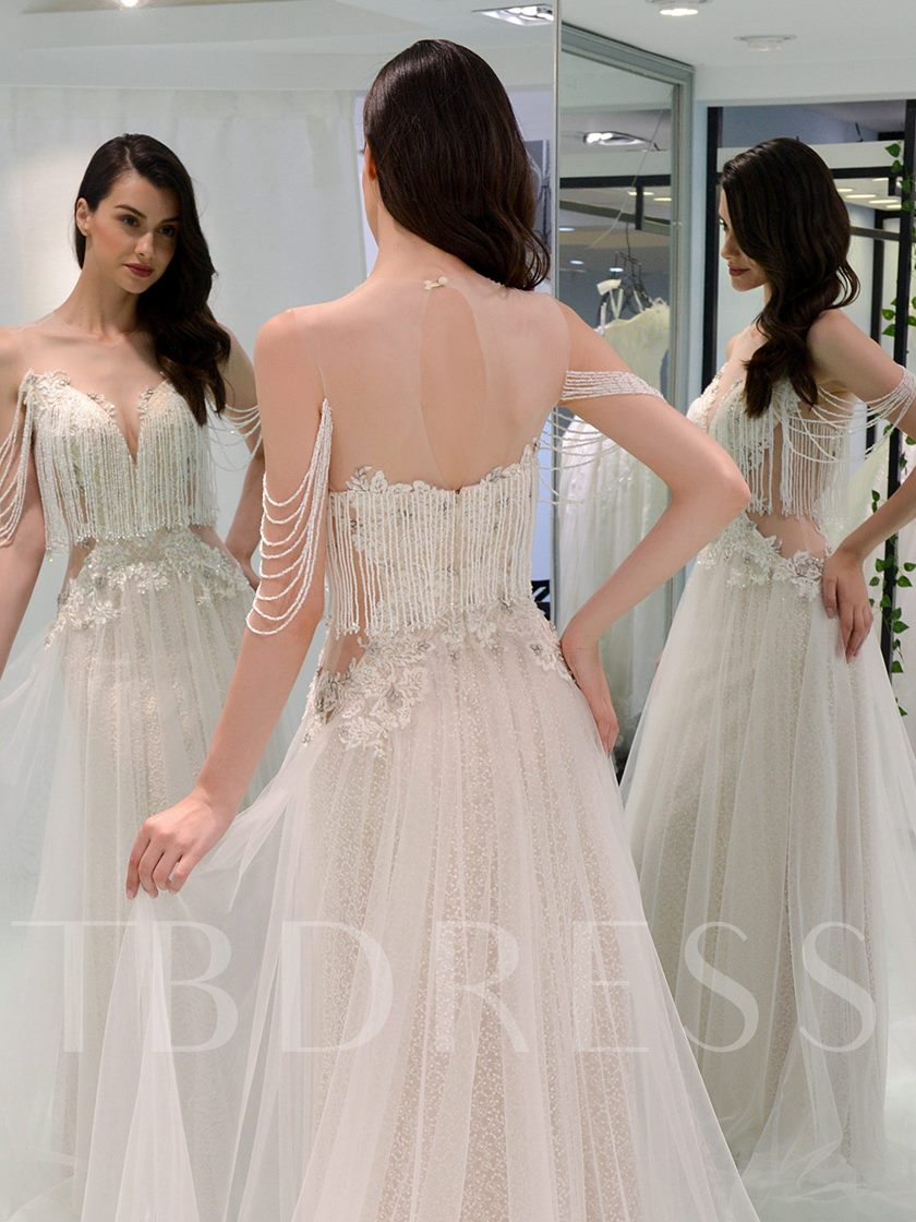 Illusion Neck Beading Tassel Appliques Wedding Dress