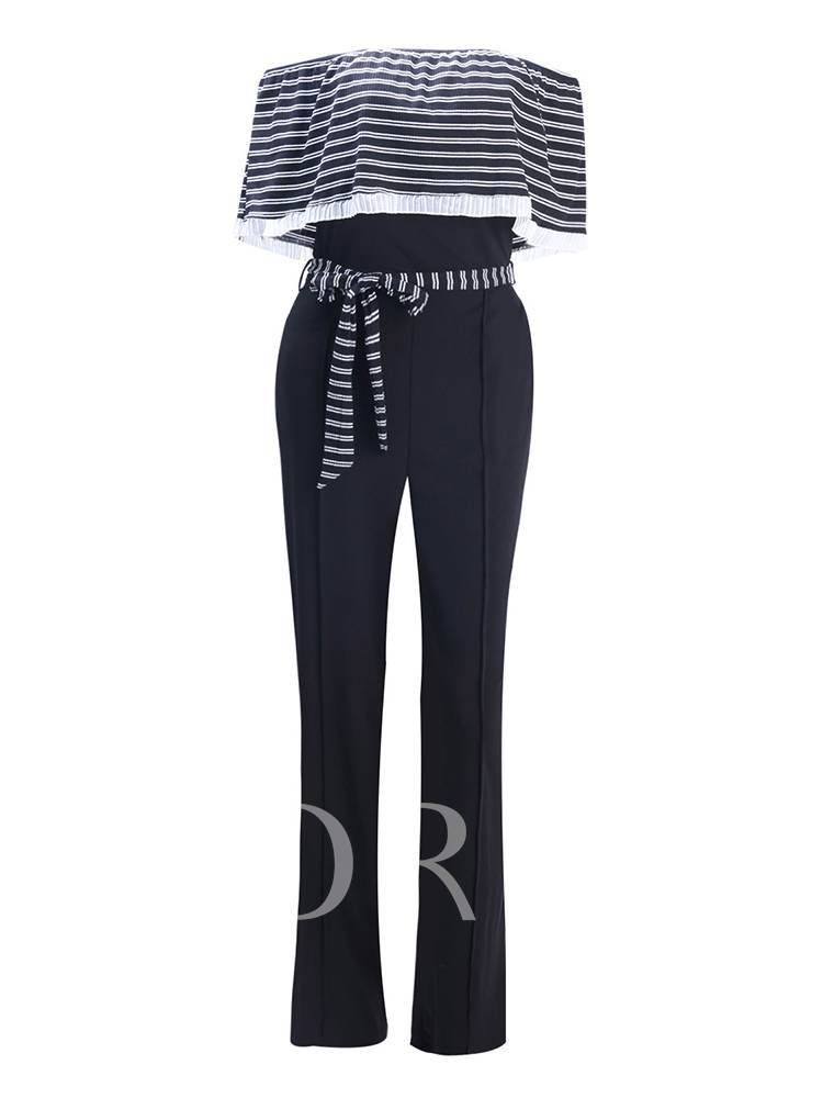 Plus Size Stripe Backless Belt Women's Jumpsuit
