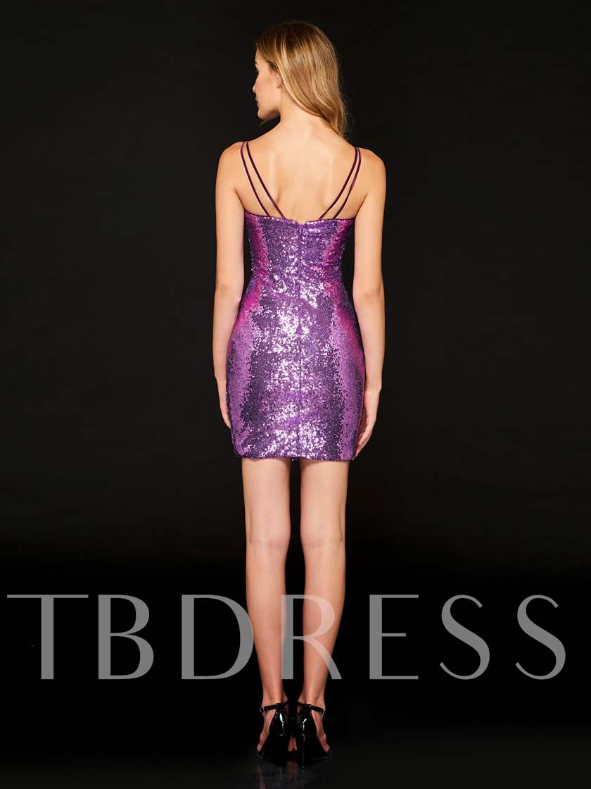 Spaghetti Straps Sheath Purple Sequins Cocktail Dress