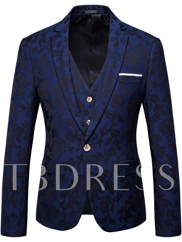 Three Piece One Button Luxury Slim Men's Dress Suit