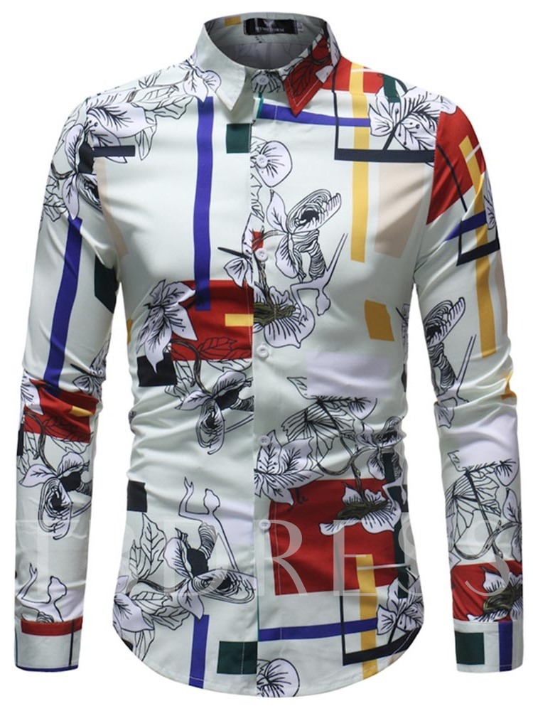Lapel Ethnic Slim Men's Leisure Shirt
