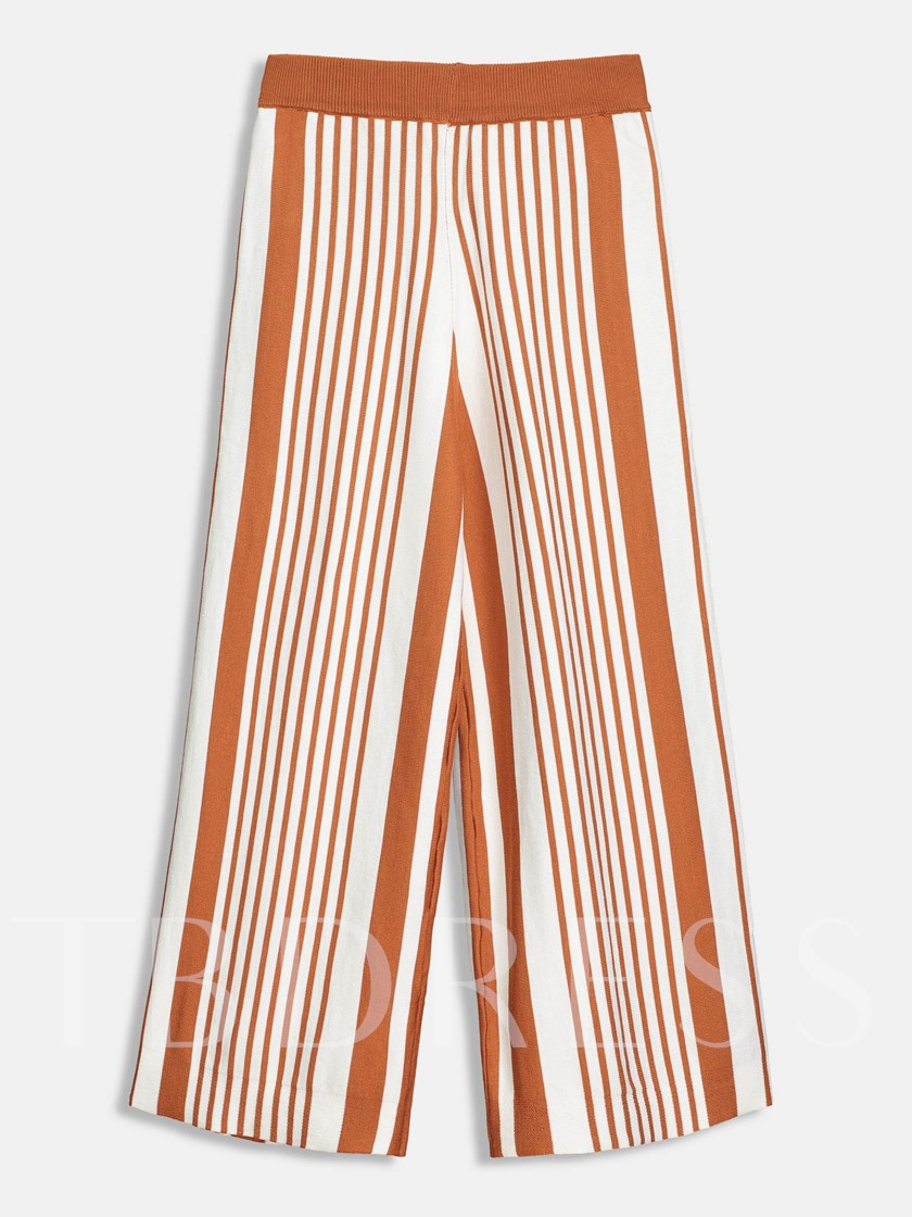 Color Block Striped Elatsic Waist Women Harem Pants