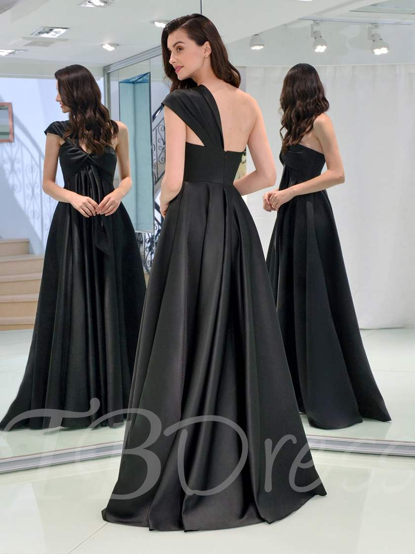 A-Line One-Shoulder Ruched Evening Dress