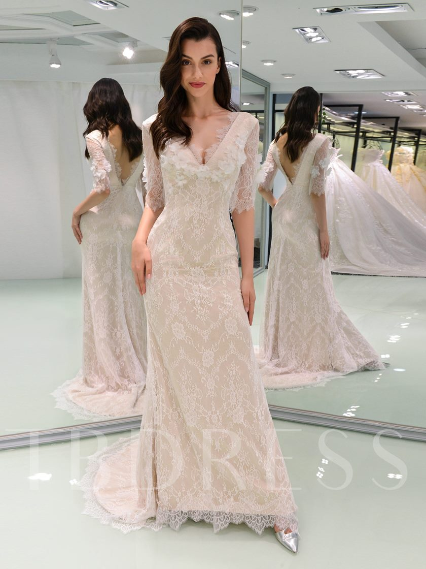 Half Sleeve Sheath Lace Wedding Dress