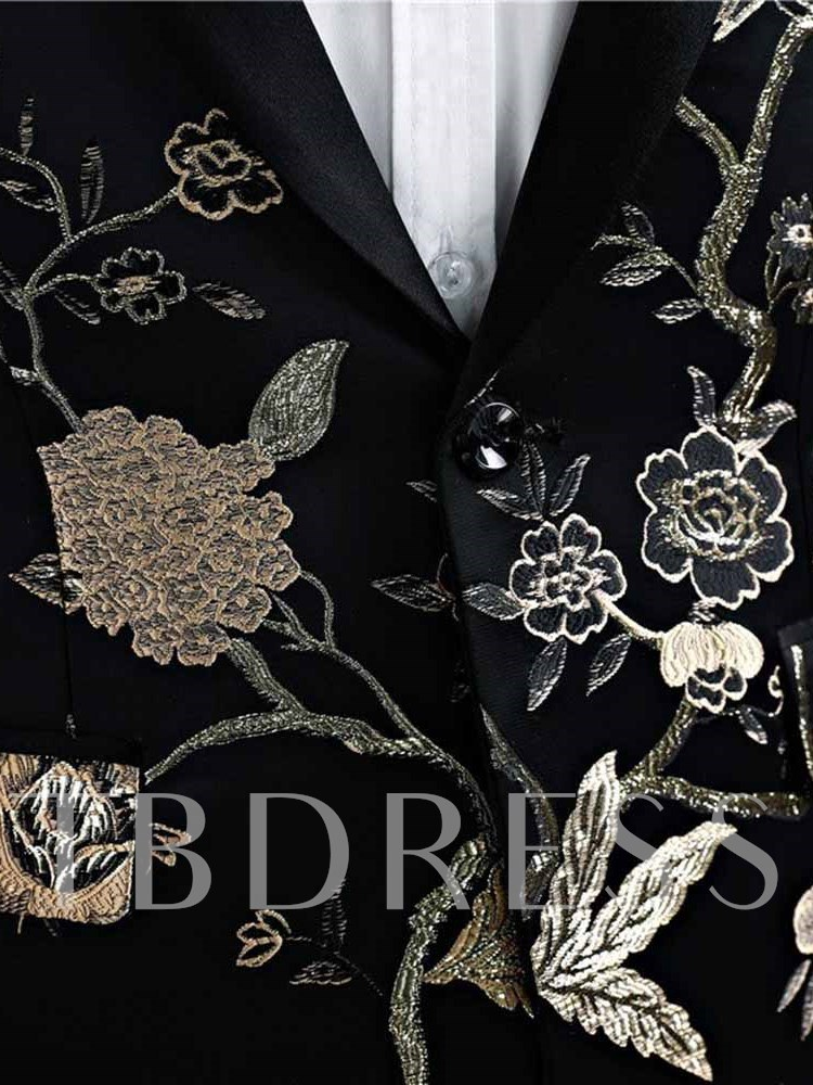 Embroidery Floral Contrast Trim Luxury Men's Dress Suit