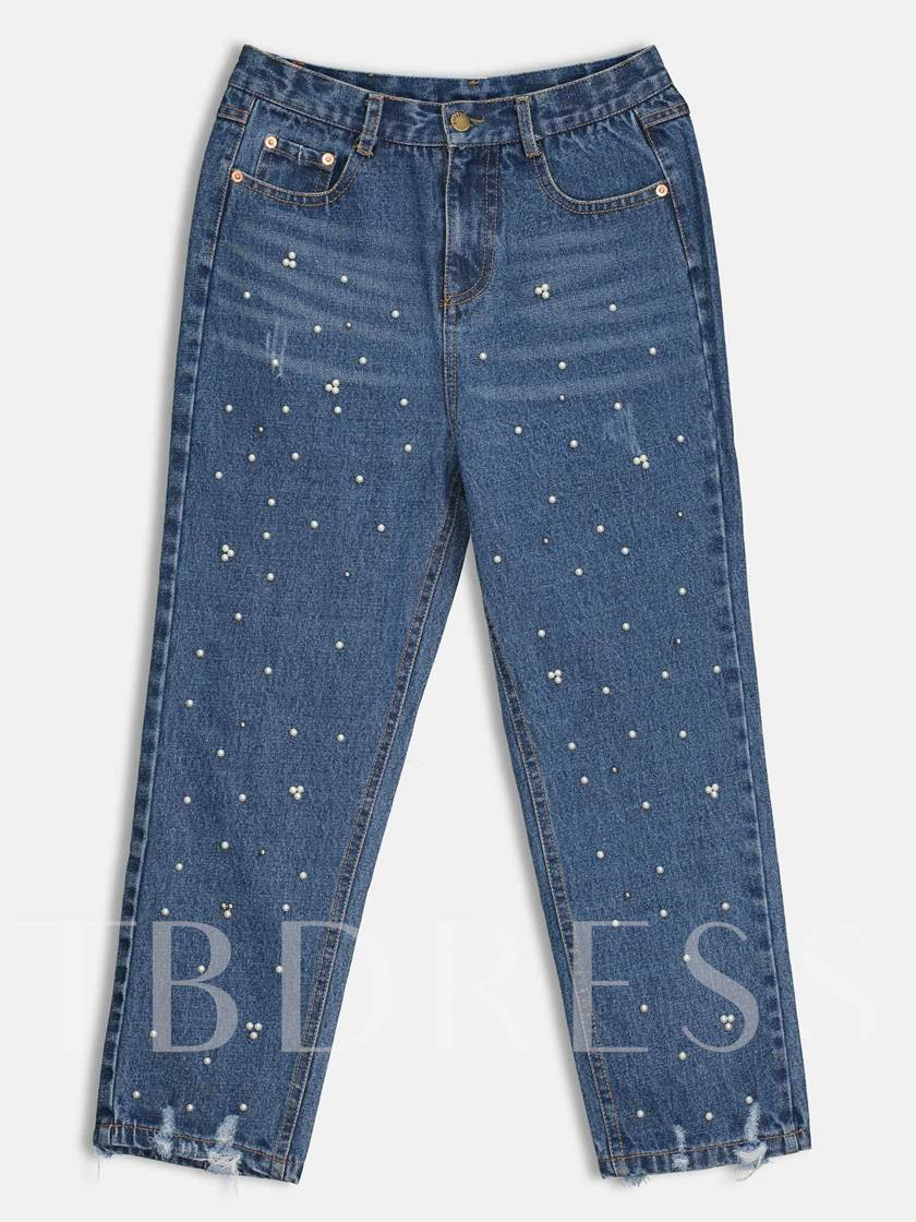 Pearl Patchwork Ripped Women's Jeans