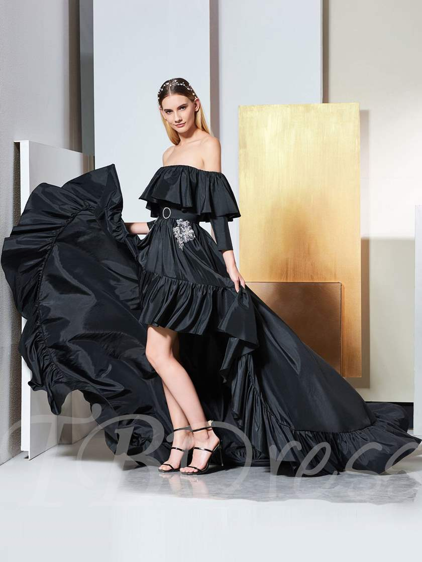 A-Line Appliques Sashes High Low Evening Dress