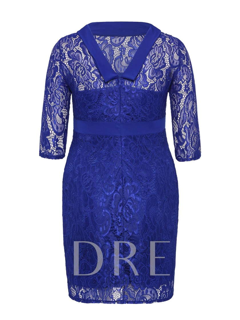 Plus Size Knot Women's Lace Dress