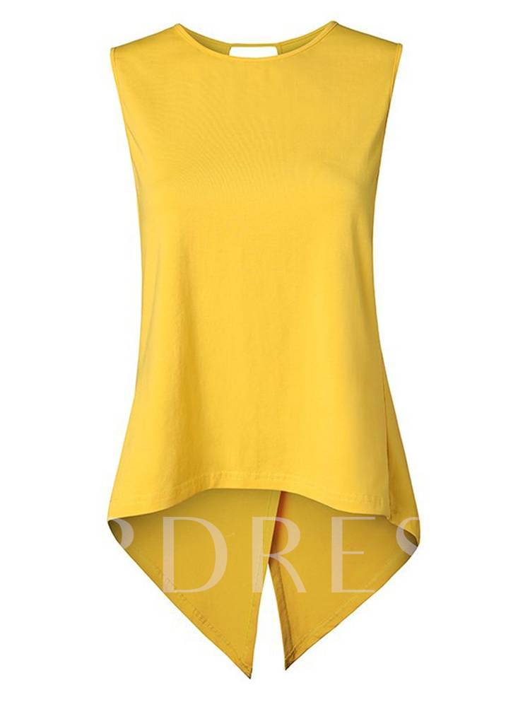 Solid Color Key Hole Aysmmetric Women's Tank Top