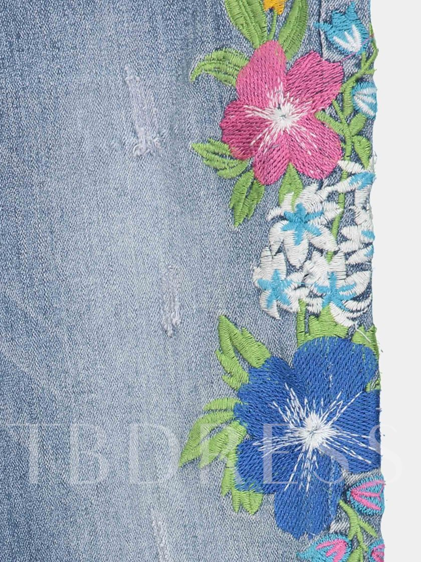 Denim Floral Embroidery Slim Fit Women's Jeans