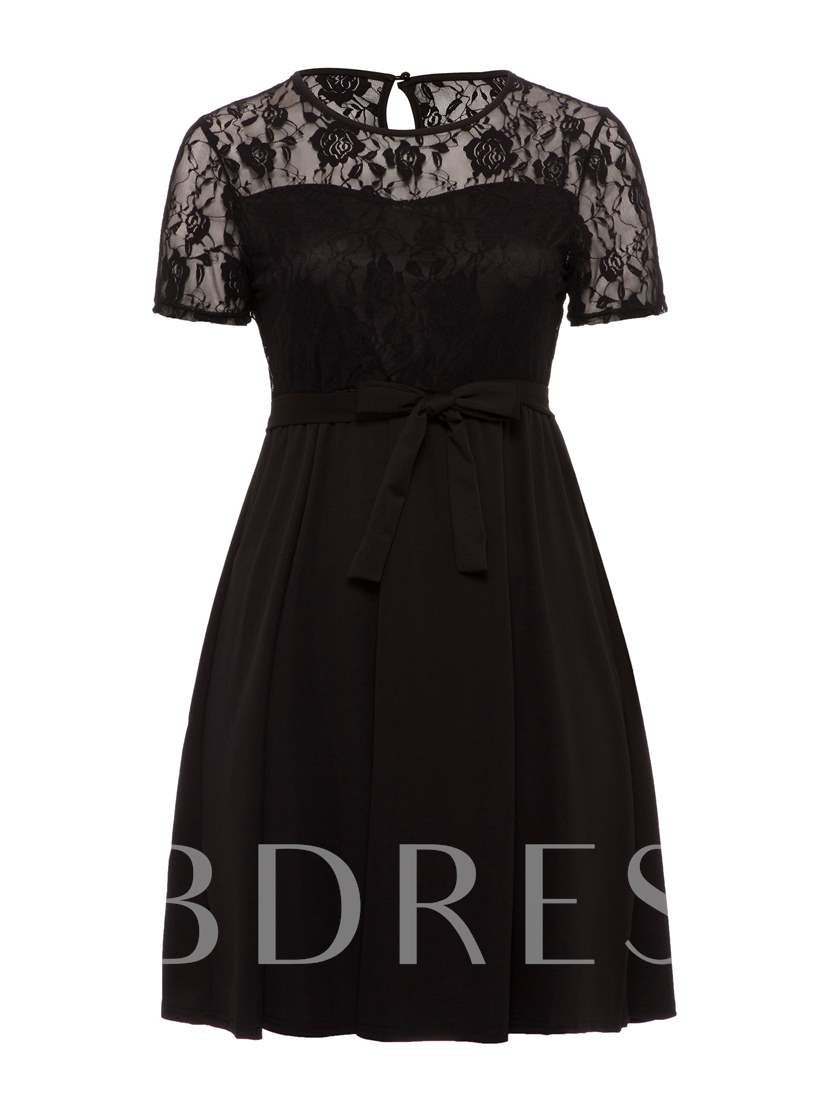 Plus Size Black Short Sleeve Elegant Lace Dress