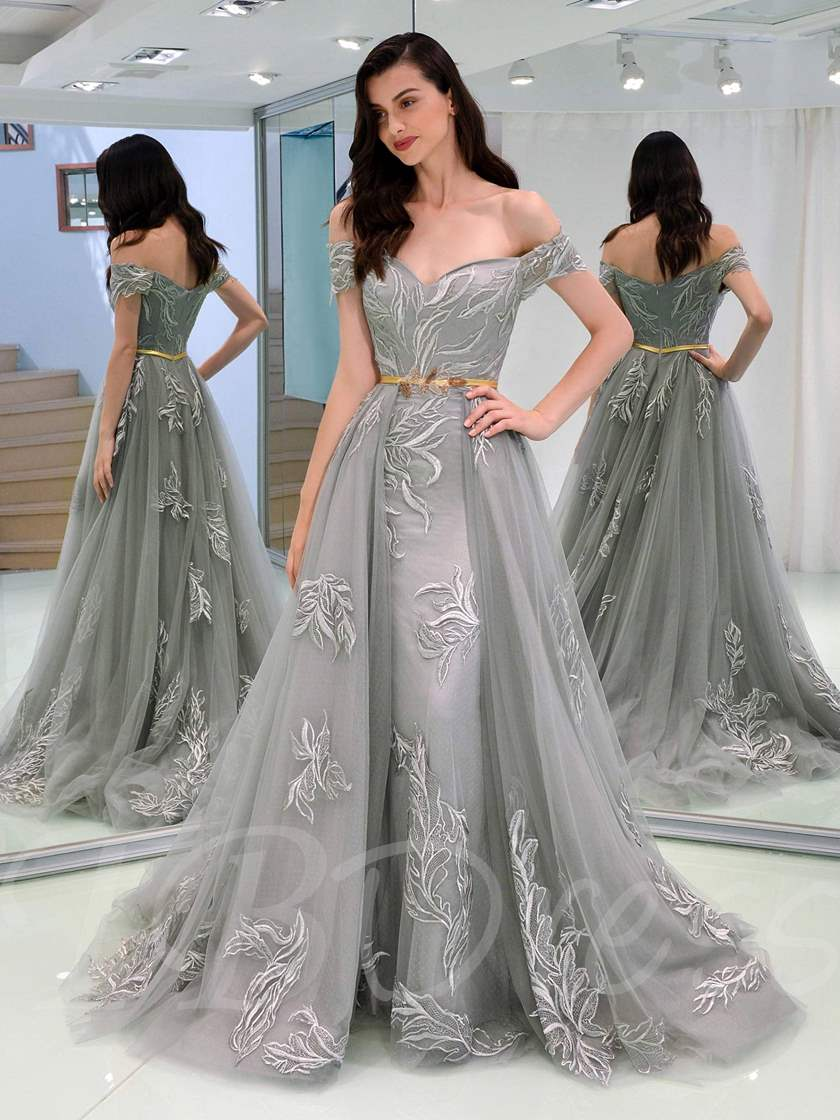 A-Line Appliques Off-the-Shoulder Evening Dress With Sashes
