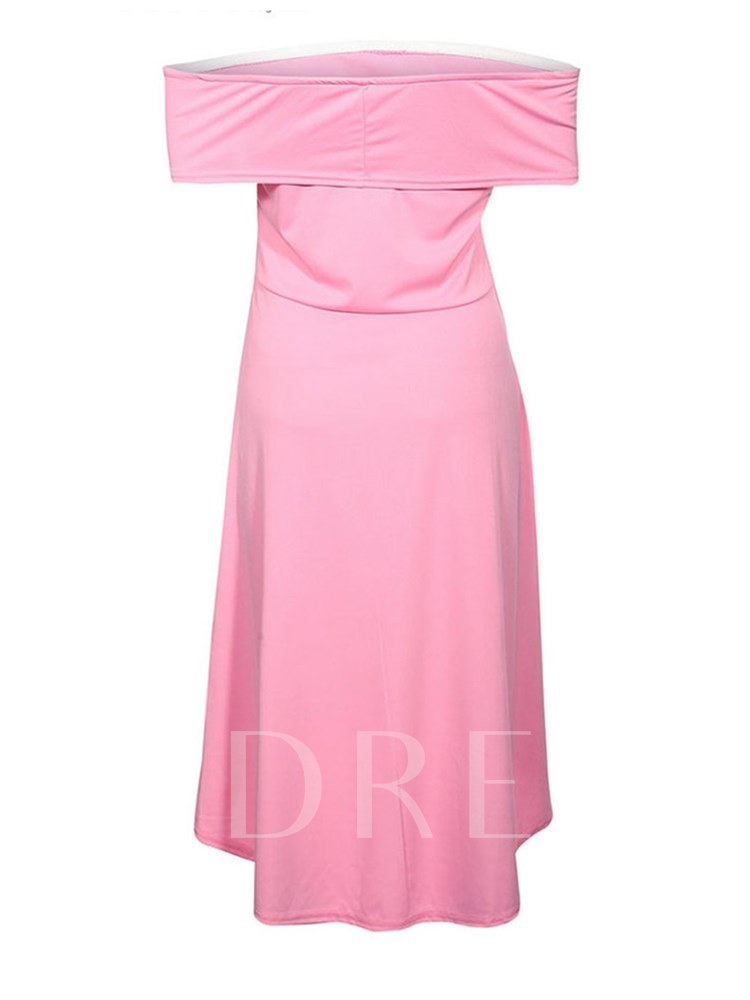 Off Shoulder Plain Women's Day Dress