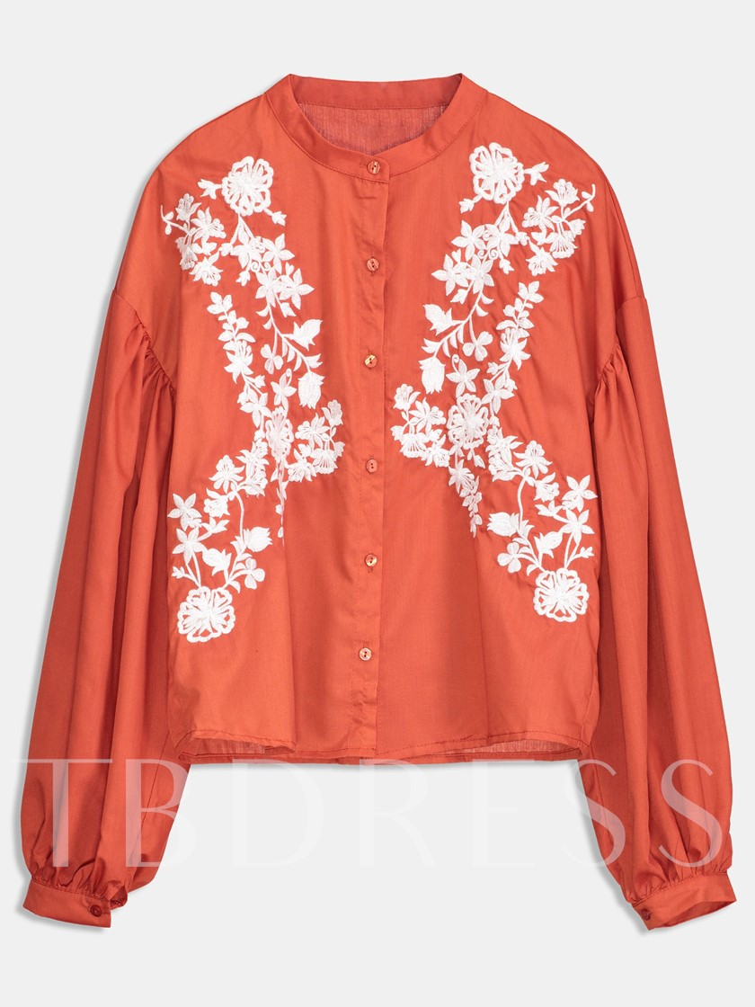 Floral Embroidery Single-Breasted Women's Shirt