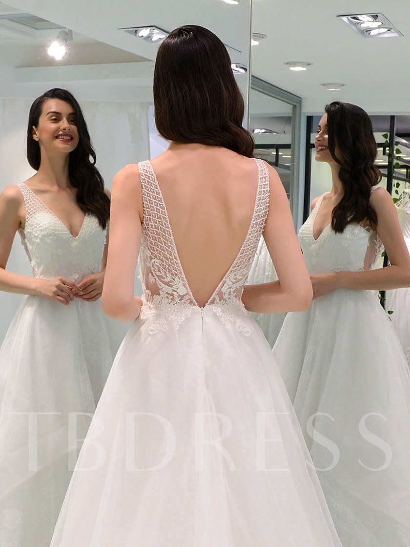 Beaded Straps Appliques Lace Wedding Dress