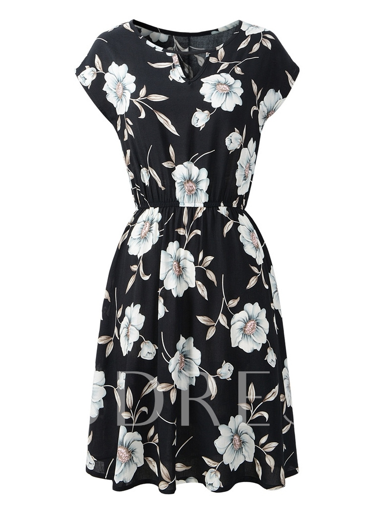 Floral Cap Sleeve Women's Day Dress