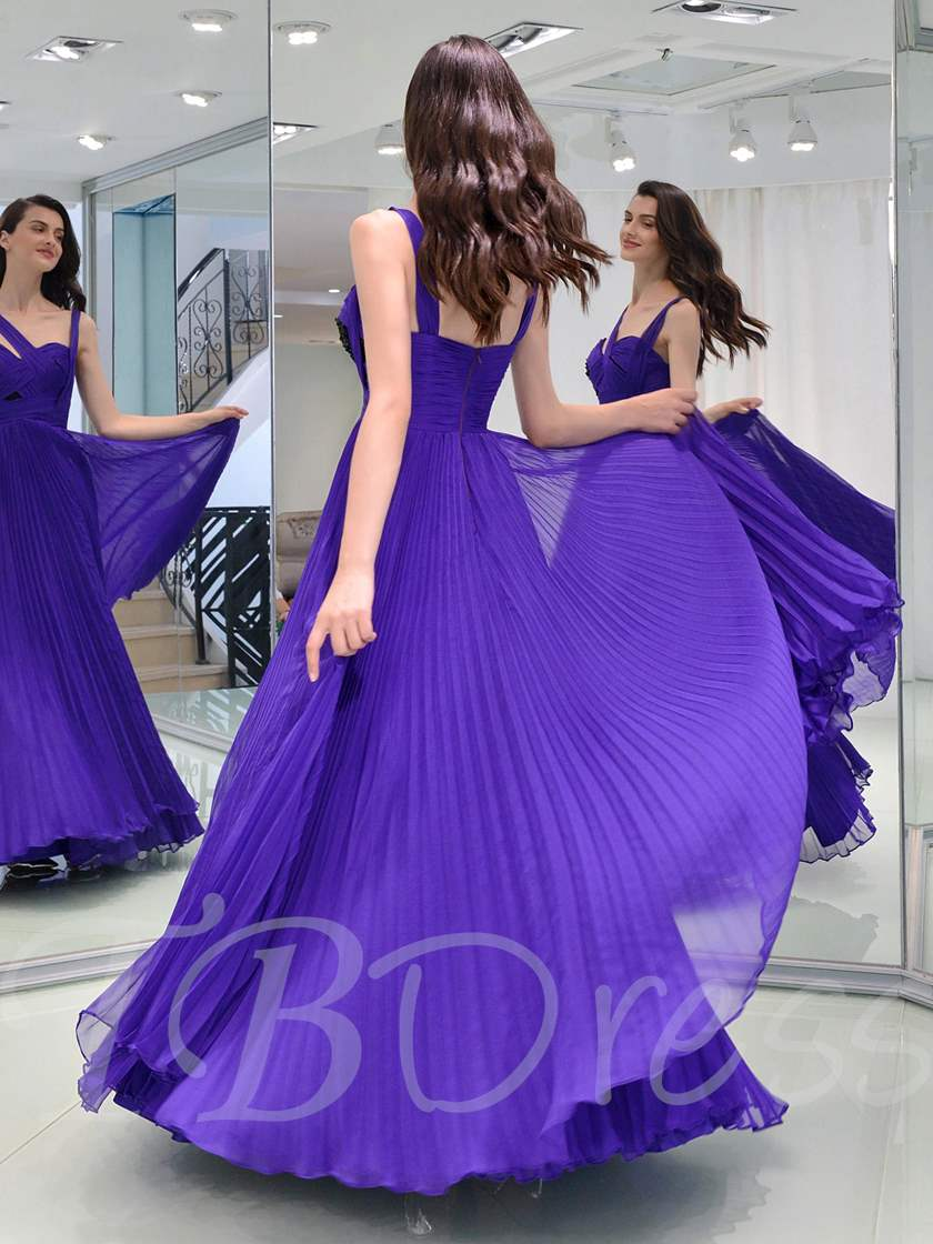 A-Line Pleats Straps Long Prom Dress