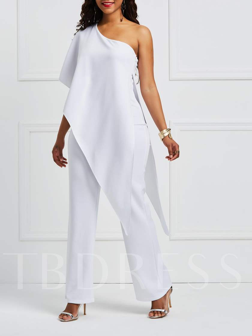 Asymmetric Office Lady Plain Wide Legs Women's Jumpsuit