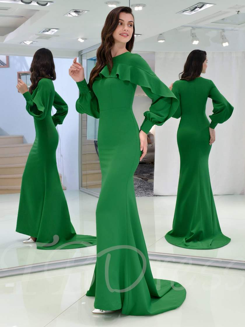 Mermaid Ruffles Long Sleeves Evneing Dress