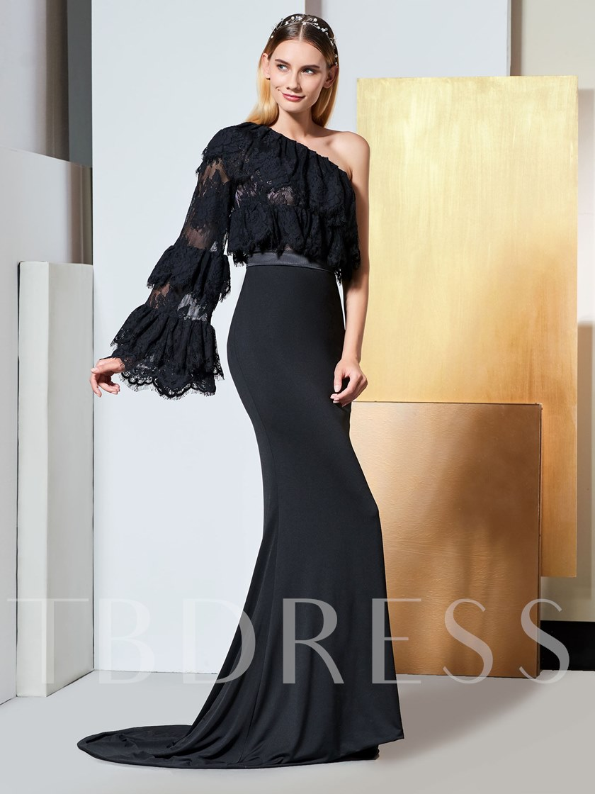 One Shoulder Tiered Lace Long Sleeve Evening Dress