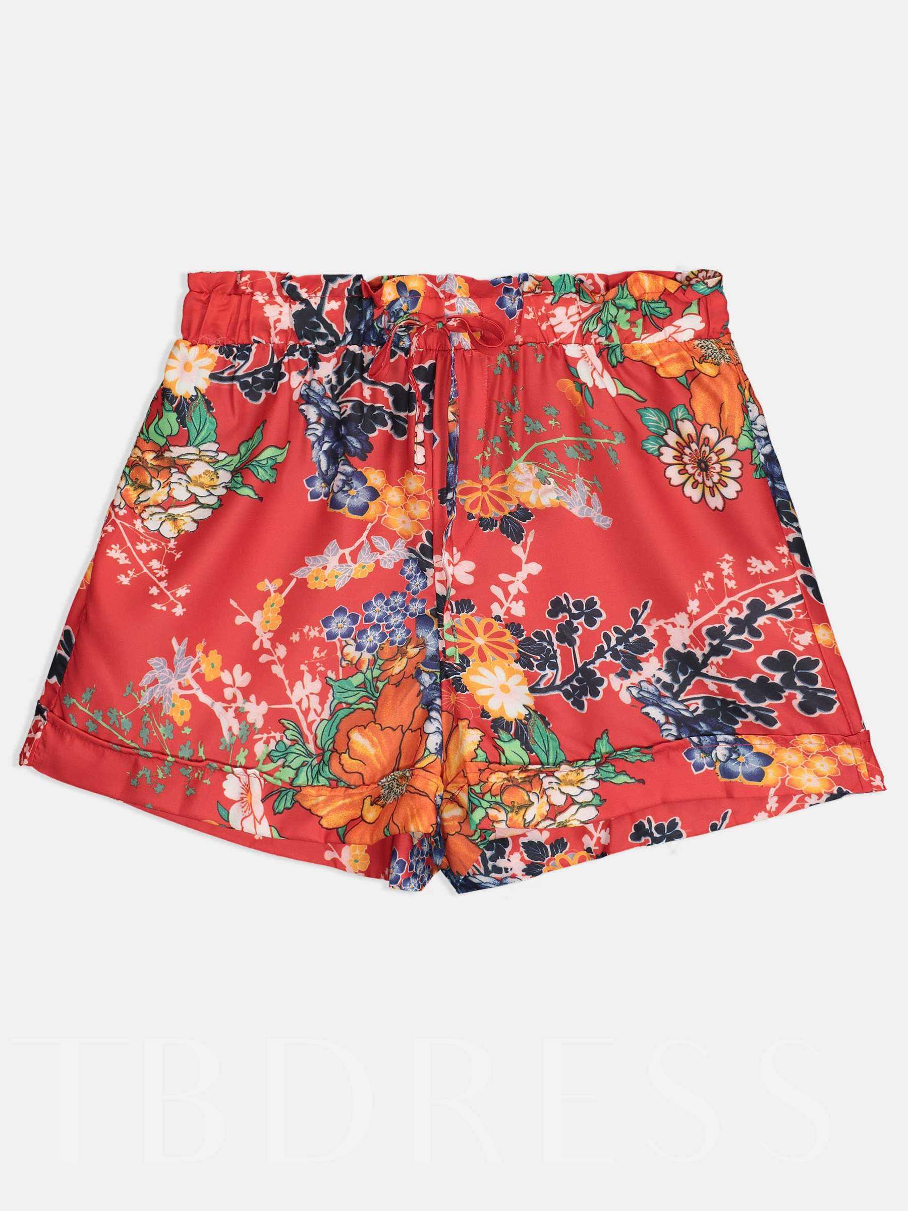 Buy Loose Straight Floral Print Lace-Up Women's Shorts, Summer, 13341726 for $10.66 in TBDress store