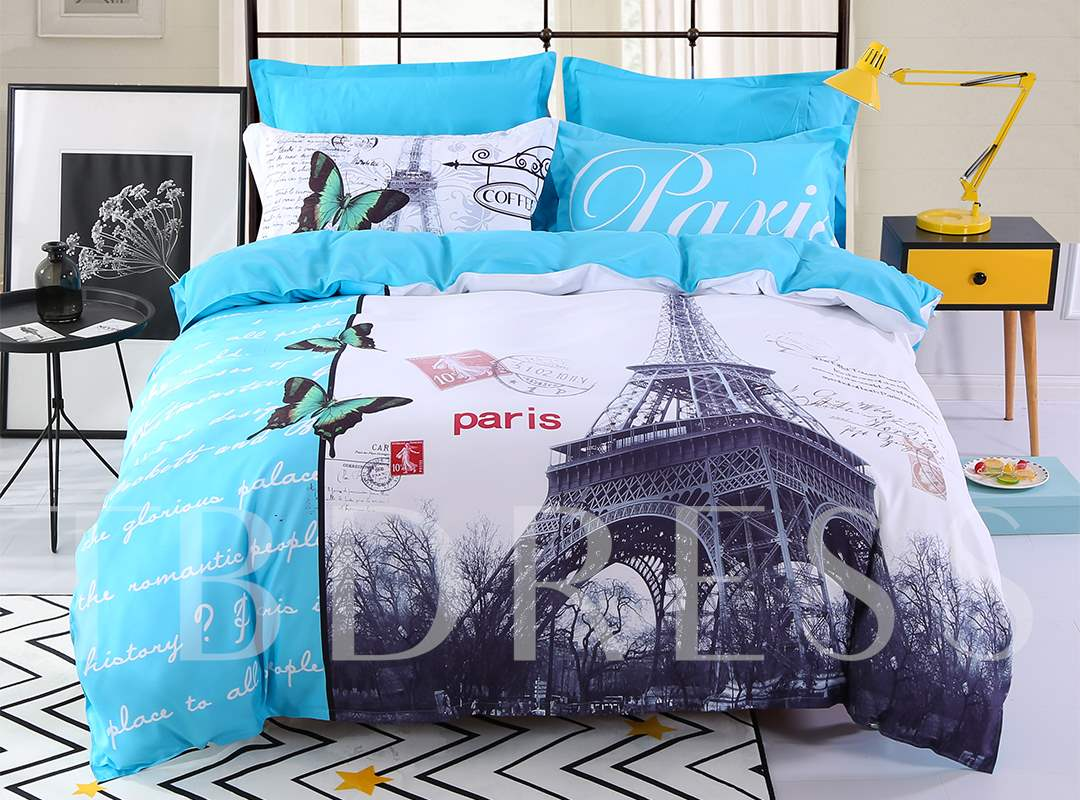 Eiffel Tower in Paris Blue Polyester Printing 4-Piece Bedding Sets/Duvet Cover