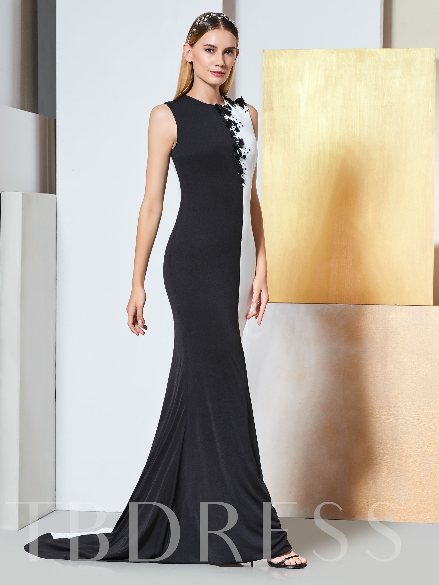 Buy Scoop Appliques Sheath Beaded Evening Dress, Spring,Summer,Fall,Winter, 13334952 for $132.29 in TBDress store