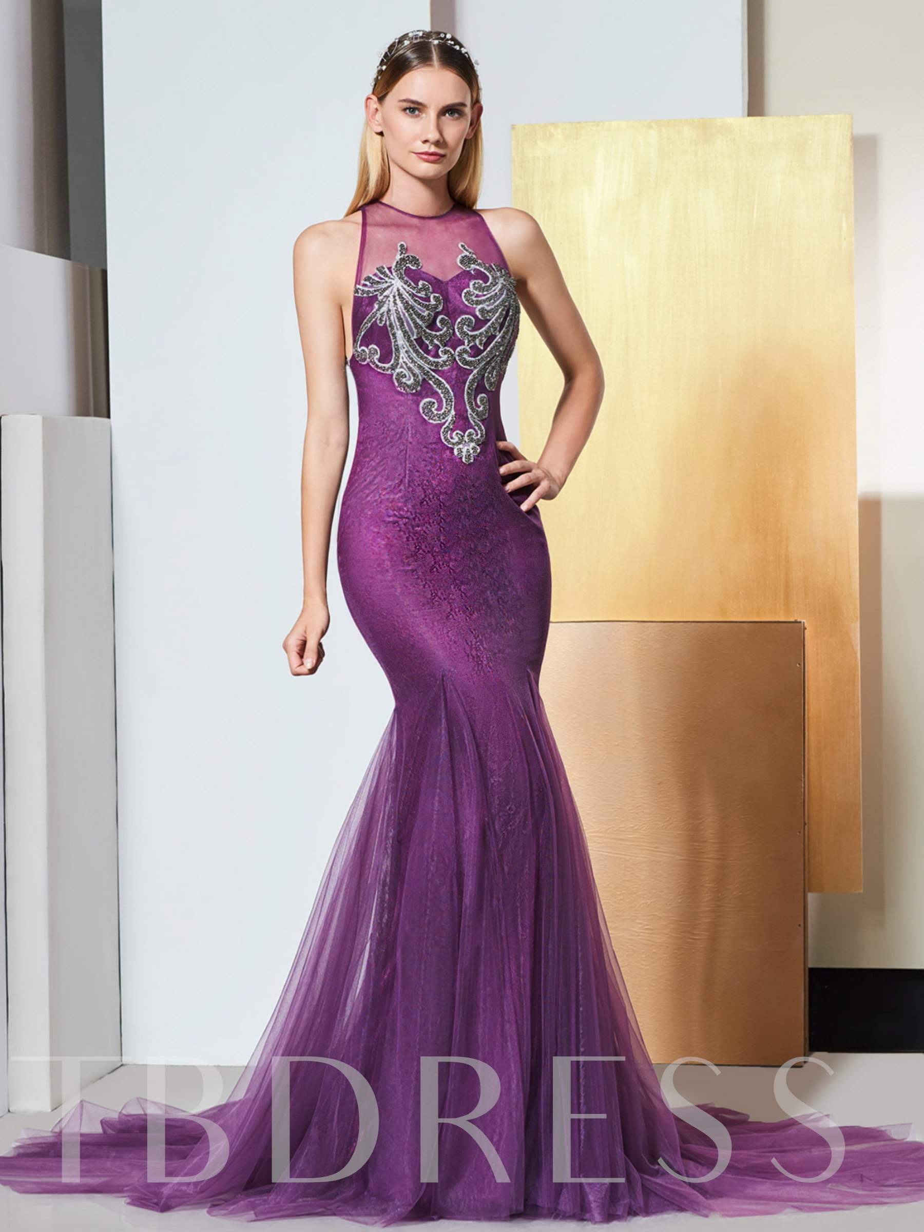 Buy Mermaid Scoop Appliques Lace Evening Dress, Spring,Summer,Fall,Winter, 13334962 for $177.44 in TBDress store
