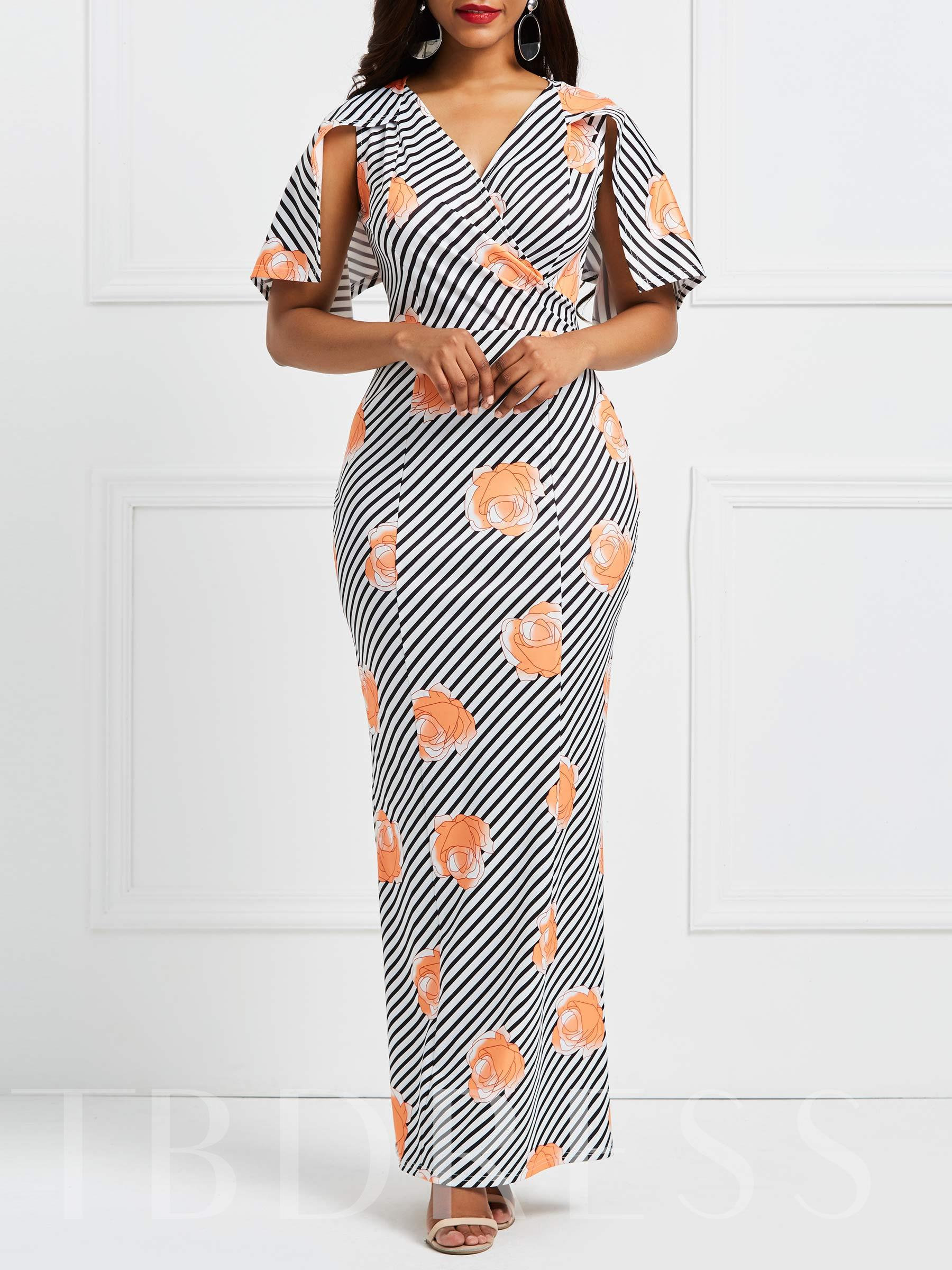 Buy Half Sleeve Floral Prints Women's Maxi Dress, 13335933 for $18.38 in TBDress store