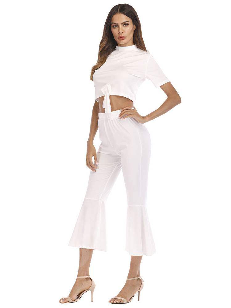 Tie Front Crop Top and Bellbottoms Pants Women's Two Piece Set, Summer, 13354888