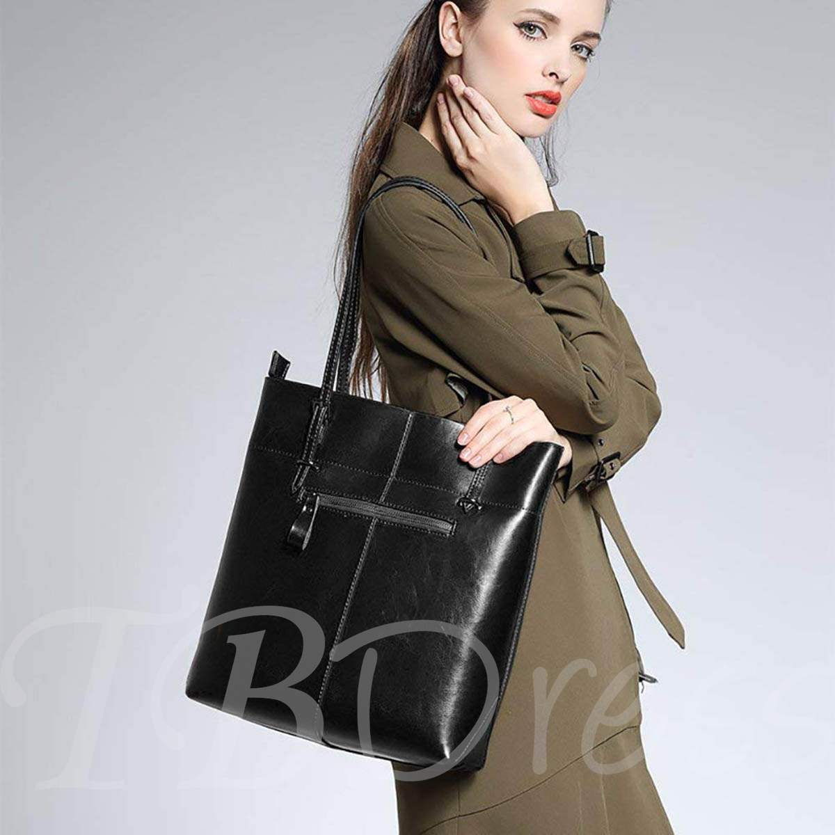 Casual Rectangle Belt Decorated Women Shoulder Bag