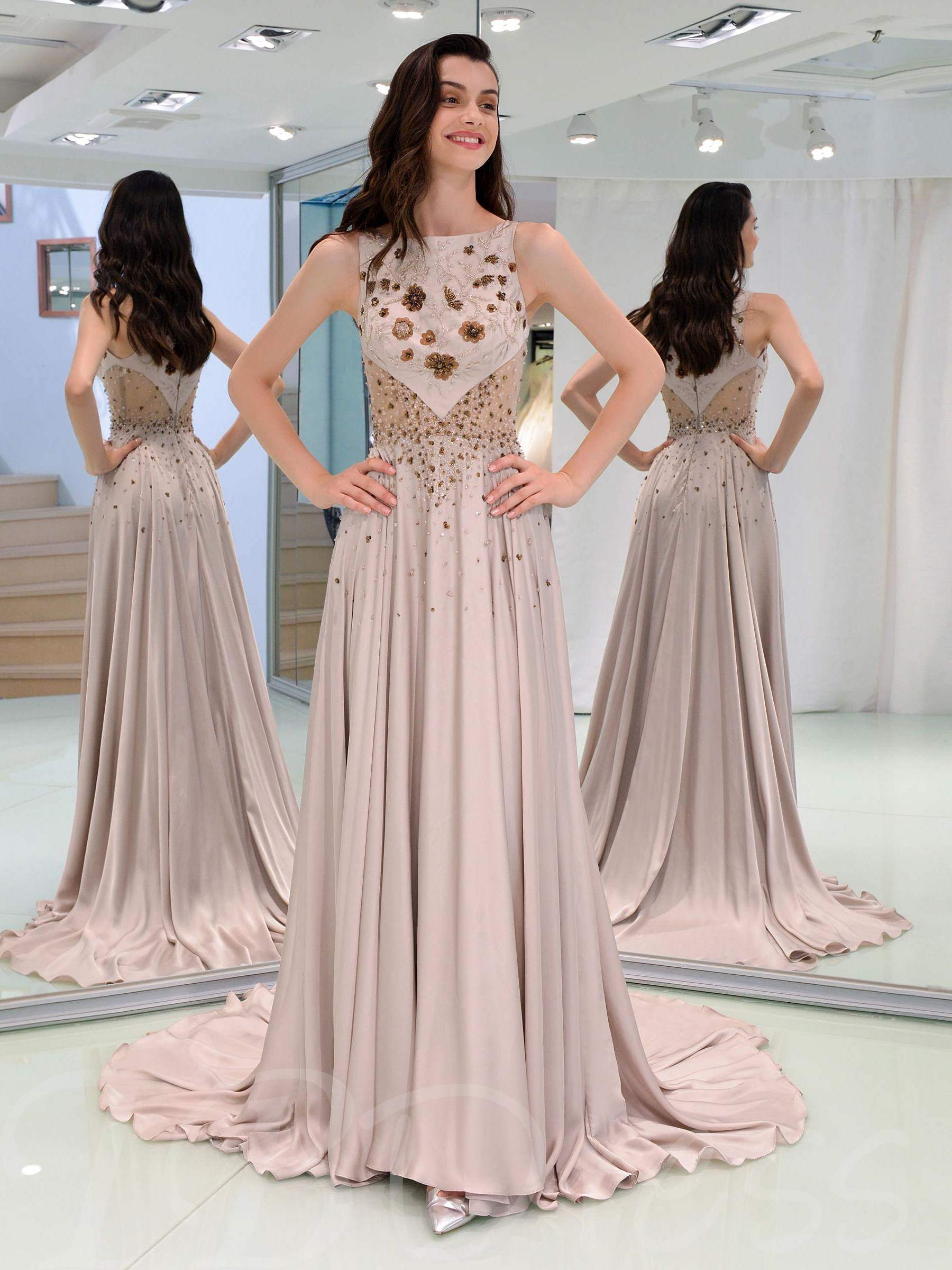 Buy A-Line Beading Jewel Evening Dress, Spring,Summer,Fall,Winter, 13337403 for $228.99 in TBDress store