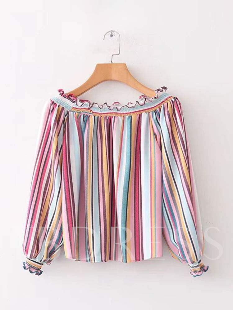 Buy Frilled Colorful Stripe Long Sleeve Women's Blouse, Spring,Fall, 13333457 for $13.24 in TBDress store