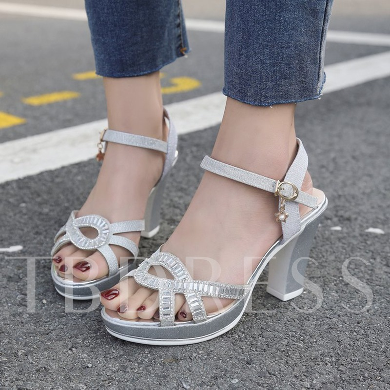 ce80abd1b22 Ankle Strap Chunky Heel Rhinestone Platform Women s Sandals. Sold Out