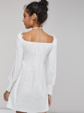 Slash Neck Single-Breasted Women's Long Sleeve Dress