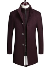 Slim Notched LapelMid-Length Plain Men's Coat