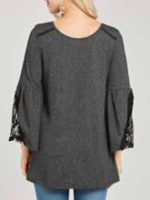 Lace Flare Sleeve Mid-Length Women's T-Shirt