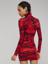 Christmas Camouflage High Neck Long Sleeves Women's Bodycon Dress
