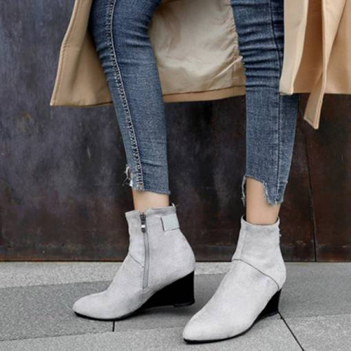 Round Toe Wedge Heel Suede Side Zipper Chic Women's Ankle Boots