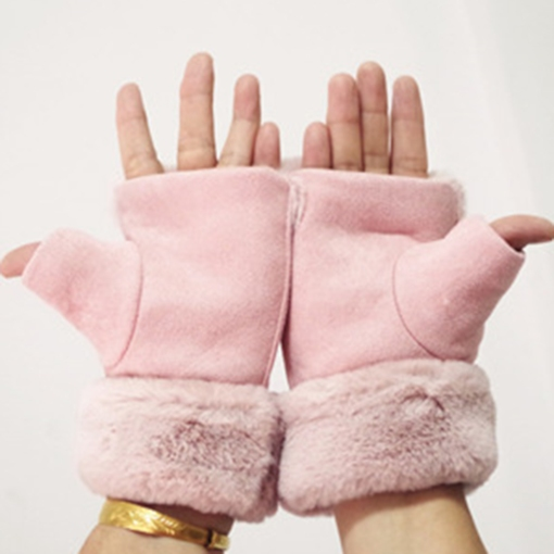 Cute Rough Selvedge Warm Suede Gloves