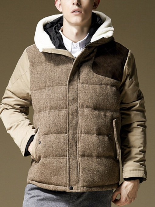 Slim Thick Hooded Color Block Patchwork Men's Jacket