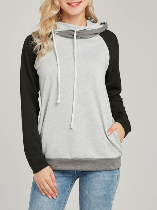 Raglan Sleeve Color Block Mid-Length Women's Hoodie